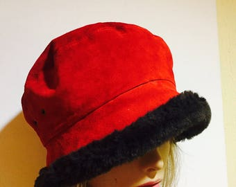 Vintage Eric Javits Hat, Red Suede Leather And Faux Brown Fur, Bucket Hat, Luxury Designer Hat