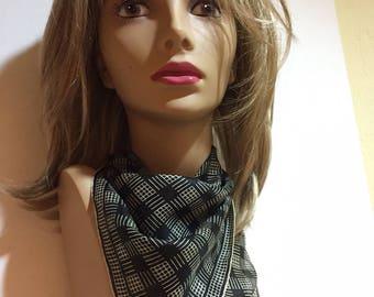 Early Vera Neumann Silk Scarf, Neckerchief, Pocket Square, Black and White Checkered