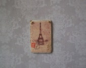French Eiffel Tower Paris Postage Sign Shabby Chic Miniature Wood Wall Art Vintage Poster Image 1:12 Dollhouse Scale Cottage, Shop, Bedroom