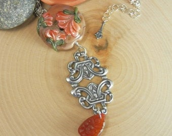 Antique Style Pendant featuring Peach Floral Lampwork Bead by Gemsinbloom on Sterling Chain