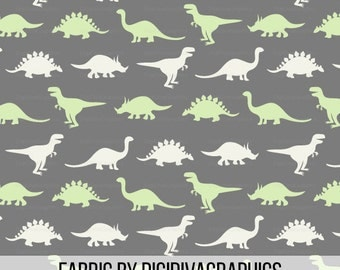 Dinosaur Silhouette Fabric By The Yard -  Gray Green Dino Baby Nursery Boys Quilting Print in Yard & Fat Quarter
