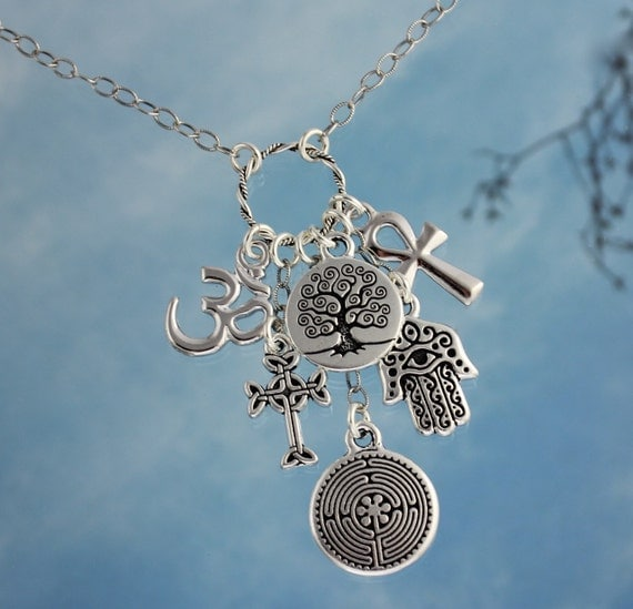 Ancient Religions Coexist silver charm cluster necklace - om, hamsa hand, tree of life, cross, ankh, labyrinth - free ship USA