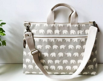 Macbook or Laptop bag with handles and detachable shoulder strap - Gray elephant-Ready to ship