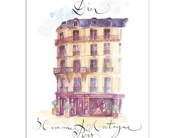 Paris fashion Dior house, Paris watercolor painting, Paris art print, Parisian architectural drawing, 8X10 home decor, Paris sketch