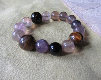 Health Energy, Tiger Eye and Fluorite Bracelet, Healing Stones Jewelry, Gemstone Synergy