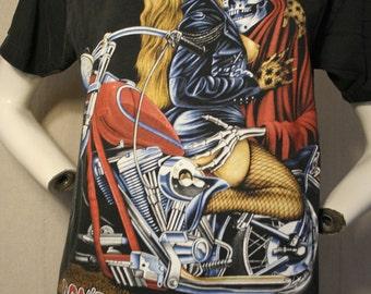 80's/90's Don't Fear The Reaper / Fear No Evil 3D Emblem grim reaper and motorcycle babe - men's sz M