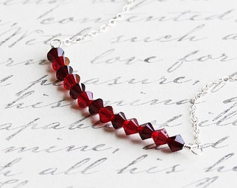 Garnet Red and Ruby Red Crystal Bead Bar Necklace on Sterling Silver Chain (Swarovski Elements)