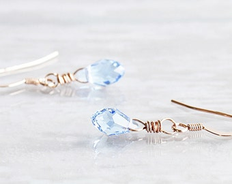 Tiny Light Blue Crystal Drop Earrings on 14K Rose Gold Filled Hooks (made with Swarovski Elements)