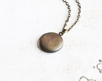 Small Round Antiqued Brass Locket Necklace, Hand Oxidized Jewelry