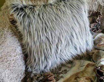 "22"" Square Pillow Faux Fur 3"" Long Pile Ultra Mongolian 2 tone Gray frosty white tips Very Elegant and Beautiful living room or bedroom"