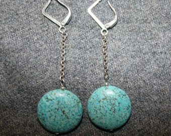 "Turquoise stone round drop dangle earrings 2"" Long chain elegant blue silver plated boho for her"