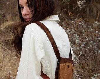 Mini Leather Backpack / Brown Leather Backpack