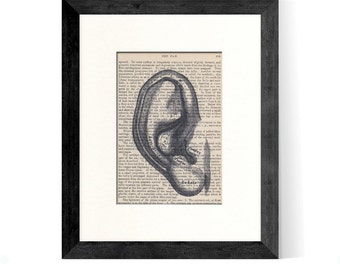 Ear Art over Medical Vintage Book Page- Great Gift Idea and Office Decor for ENT, ENT Doctor, Ear Doctor, Hearing Doctor, Audiologist