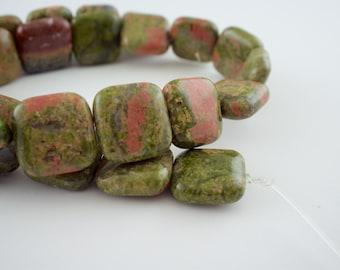15mm Unakite Gemstone Puff Square Beads - 15 inch strand - 26 pieces