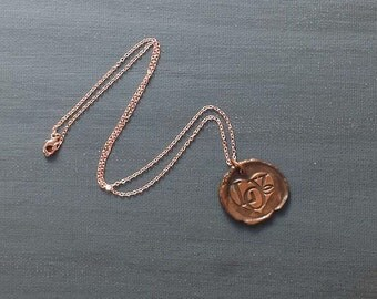 Copper Love Heart Wax Seal Necklace on Rose Gold Tone Chain