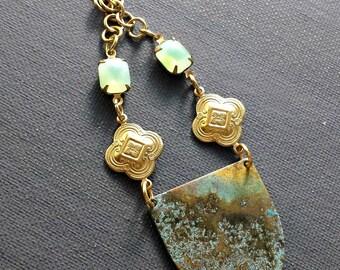Brass Shield Patina Necklace / Brass Jewelry / Metal Charm Necklace / Long Brass Charm Necklace / Brass Necklace / Verdigris Metal Jewelry