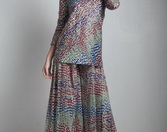 vintage 70s op art jumpsuit colorful palazzo bell bottom long sleeves turtle neck MEDIUM M