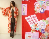 Vintage Novelty Crane & Floral Pattern Cotton Japanese Vintage Kimono Robe Duster Jacket