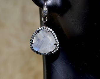 LP 1397 Rainbow Moonstone and Black Gold Bezel With White CZ  Triangle Earrings
