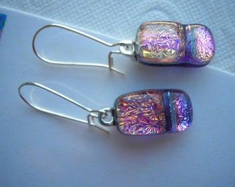 Earrings Dichroic Coral Pink with Purple Sterling Silver Kidney Earwires Iridescent Dangles Light Catching Fused Glass Jewelry Sparkling