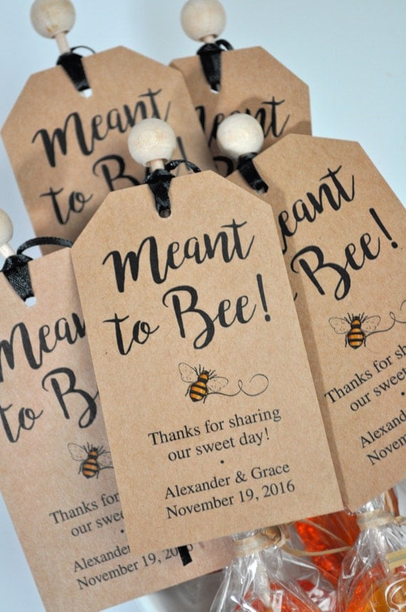 Meant To Bee Bridal Shower Favor Tags, Rustic Wedding Favors, Kraft ...