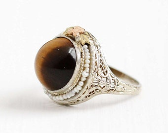 Sale - Antique 14k White Gold Tiger's Eye Filigree Ring - Size 7 Vintage Rose Yellow Gold Flower Art Deco Seed Pearl Halo 1920s Fine Jewelry