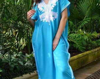 Turquoise Blue & White Marrakech Resort Caftan Kaftan -Spring dress,Summer dress, beach cover ups, resortwear,maxi dresses, birthdays