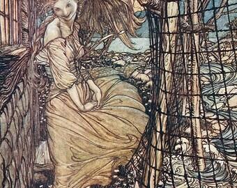 Undine by Window,  Arthur Rackham, Vinatge Art Print