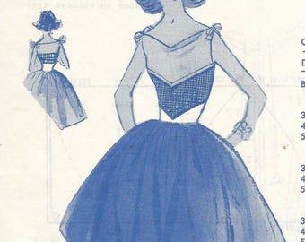 1950s Sundress Tie Shoulders V Neck Bouffant Skirt Modes Royale D-84 Unused Factory Folds Size 12 Bust 32 Women's Vintage Sewing Pattern