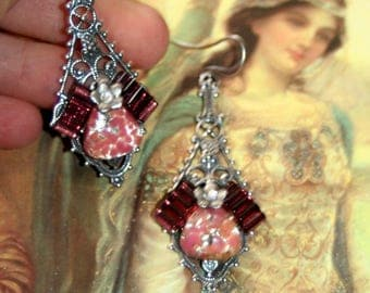 Vintage Purple glass gothic etruscan arthurian camelot silver goddess earrings