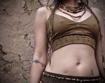 Organic Brown cotton Lycra Yoga dance sport underwear Bra with Print eco friendly natural