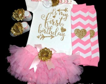 Pink and Gold Birthday Outfit, 1st Birthday Girl Outfit, First Birthday Bodysuit, Cake Smash, Photo Prop, Pink Tutu Bloomer, Birthday Set