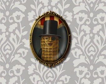 Mr Peanut Portrait Brooch Oval - Summer Boardwalk Seashore