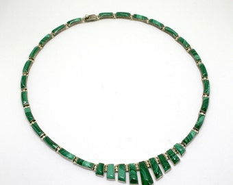 Green Onyx Mexican Silver Necklace