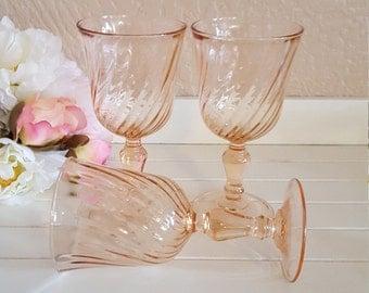 3 Pink Swirl Rosaline Goblets Made in France - Oak Hill Vintage