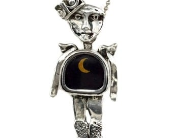 Sterling Angel Jewelry, Unusual Jewelry Gift For Women, Sterling Crescent Moon Jewelry, Robin Wade Jewelry, Angel Emilia Holds The Moon,2374
