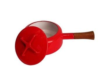Red Dansk Kobenstyle Lidded Fondue Pot / Sauce Pan