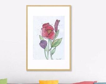 Spring Blooms Art Print Original Watercolor Artwork, Spring Flower Watercolor Original Art Print,   Modern Art Home decor, Abstract Art