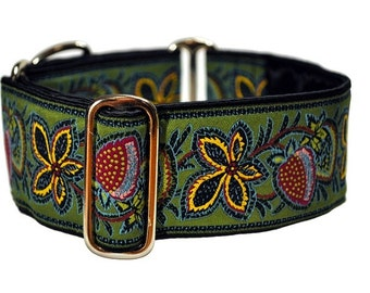 Martingale Collar or Buckle Dog Collar - Berry Vines Jacquard in Green - 2 Inch, Greyhound Collar, Great Dane Collar, Custom Dog Collar