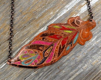 Urban Tribal Feather Necklace Hand Engraved and Enameled Classic Tattoo Flash Inspired Necklace: Inkd39