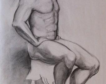 Giant, figure drawing, original art, large, charcoal, male figure, men, life drawing