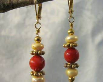 Coral and Pearl Drop Earrings