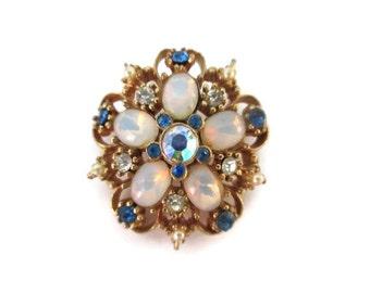 moonstone gold tone brooch, pin, blue, clear rhinestones, pearls, wedding bridal, wedding bouquet, retro brooch, mid century