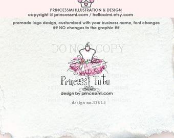 1261-1  TUTU logo, pink tutu logo, business card, shop banner, boutique logo, dummy dress, party dress, boutique, child business watermark