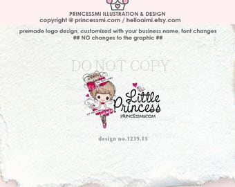 1239-15  girl logo, doll logo, ballerina logo, child business, boutique, tutu fashion , girl boutique , sketch girl , watermark, cute