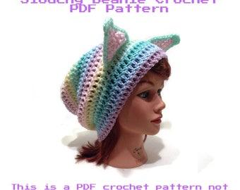 Pastel Cat Pattern, Crochet Cat Pattern, Kawaii Cat, Slouchy Cat Hat, Cat Ear Pattern, Crochet PDF Pattern, Cat, Pastel Cat Pattern, Rainbow