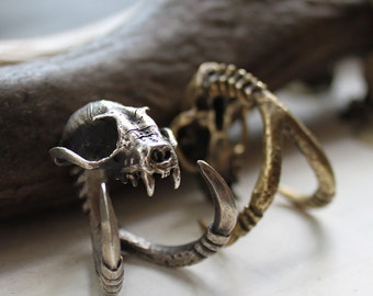 Ready to Ship Miyu Decay Death Grip with Talons Ring in Brass and Silver
