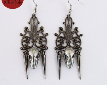 30% off Annual Birthday Sale Ready to Ship Miyu Decay Noir Filigree Spike Earrings