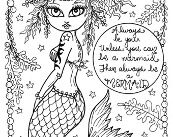 Be a Mermiad Instant Downlod Print Coloring page Adult coloring fantasy