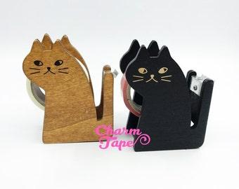Cat Washi Tape Dispenser / Wood Tape Holder / Tape Cutter